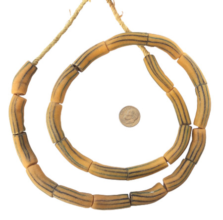 Mustard yellow stripe Elbow African handmade Krobo beads [7515]