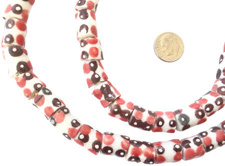 Amazing Opaque white multi with red polka dots Krobo recycled Glass Cylinder African trade Beads-Ghana