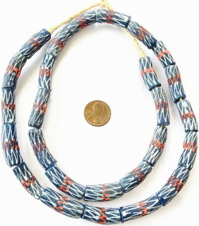 Ghana handmade Dark blue multi colored kente Recycled glass African trade beads