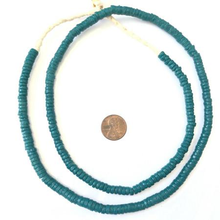 Handmade Ghana Krobo Teal recycled Glass Disk African trade Beads- Ghana