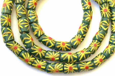 50 Ghana Olive Gold Sun Flower Krobo recycled Glass African trade Beads-Ghana