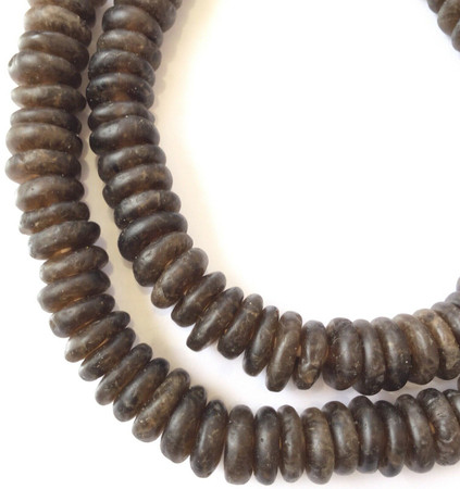 Amazing Coffee Brown Rondelle Krobo Recycled Glass African trade beads-Ghana