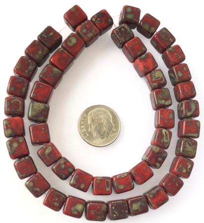 8mm Vintage dark cranberry Glass Czech square Beads