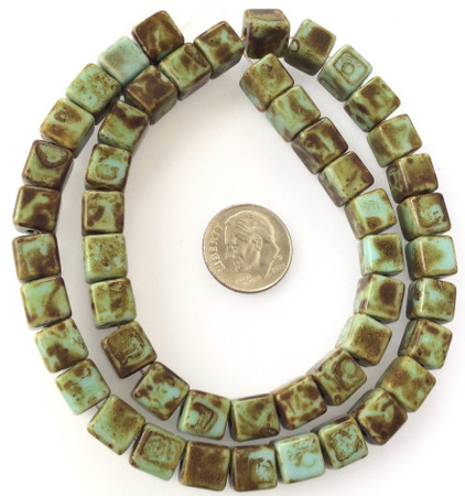 8mm Vintage Opaque Picasso turquoise Glass Czech square Beads