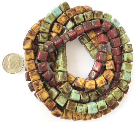 8mm Vintage variety Glass Czech square Beads