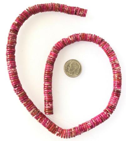 6mm Amazing Pink Fuchsia ocean Jasper Heishi Gemstone beads-jewelry Making Beads