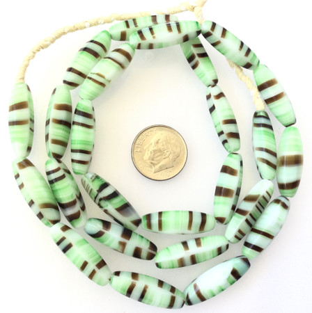 Vintage Oval Opaque Green zebra stripe Glass Czech Beads