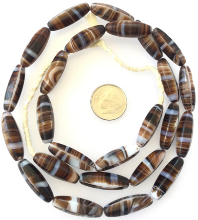Vintage Oval brown multi Glass Czech Beads