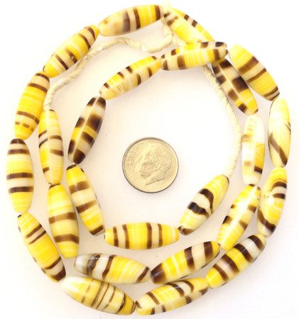 Vintage Oval Opaque yellow multi Glass Czech Beads