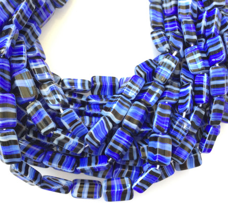 Vintage Rectangle blue multi Glass Czech Beads