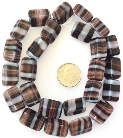 Vintage Rectangle Brown multi Glass Czech Beads