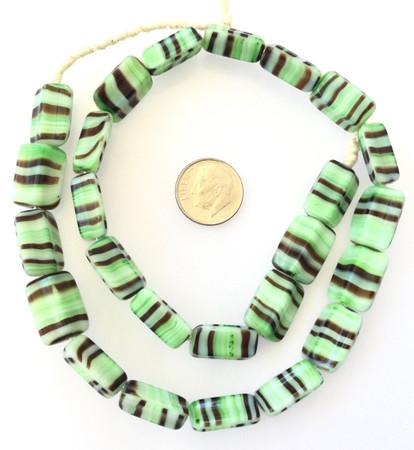 Vintage Rectangle Opaque green multi Glass Czech Beads