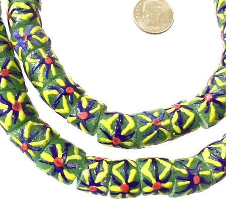Ghana African Matched floral green multi Recycled glass trade beads