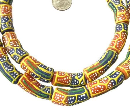 Ghana African Kente colored Elbow Recycled glass trade beads