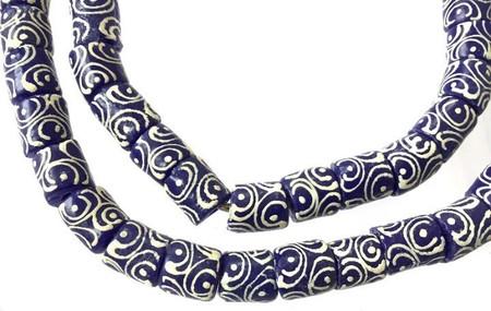 Ghana African Dark blue zen Recycled glass trade beads