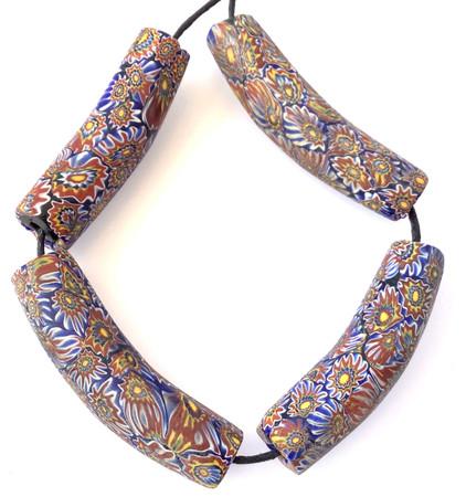 4 Rare Antique Venetian Millefiori elbow trade beads