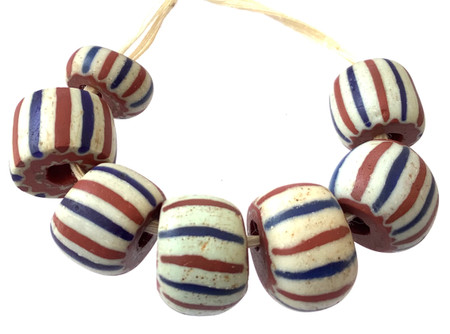 7 Rare Antique Chevron white, red and blue trade beads