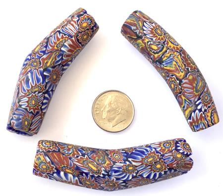 3 Rare Antique Venetian Millefiori elbow trade beads