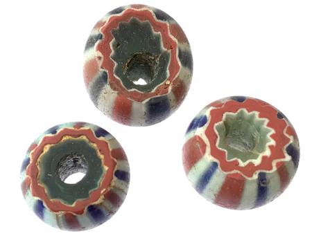 3 Set of Rare Antique 5 Layer Chevron Venetian African Glass Trade