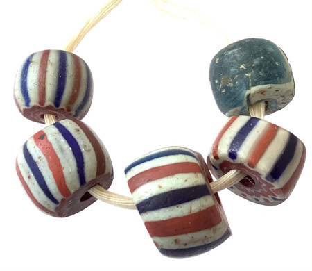 5 Set of Rare Antique Chevron and Venetian African Glass Trade beads