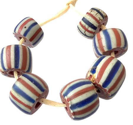 7 Rare Chevron white, red and blue trade beads