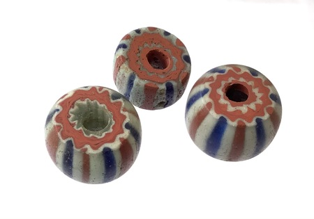 3 Set of Rare Antique Chevron Venetian African Glass Trade beads