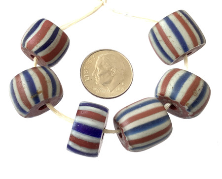 6 Set of Rare Antique Chevron and Venetian African Glass Trade beads