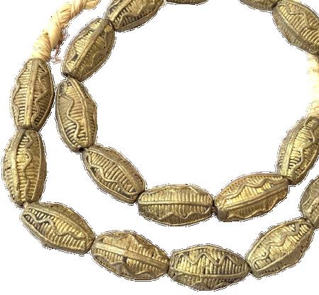 Strand of handmade African Oval Baule brass beads trade beads