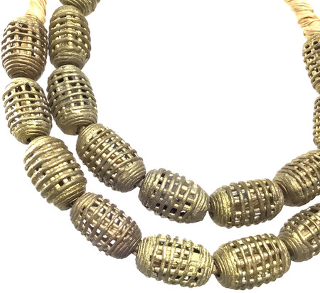 Strand of handmade African Oval Baule brass basket beads trade beads
