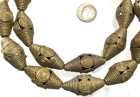 Strand of handmade African Bicone Baule brass beads trade beads