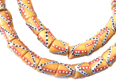 Ghana African Matched orange multi Recycled glass trade beads