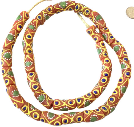 Ghana African Matched Coral red multi Recycled glass trade beads