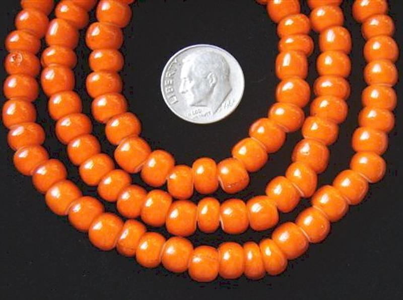Beads African Orange White Heart Glass Beads