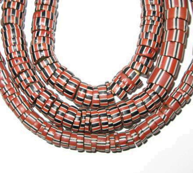 African Antique Venetian Wound drawn glass trade beads-Ghana