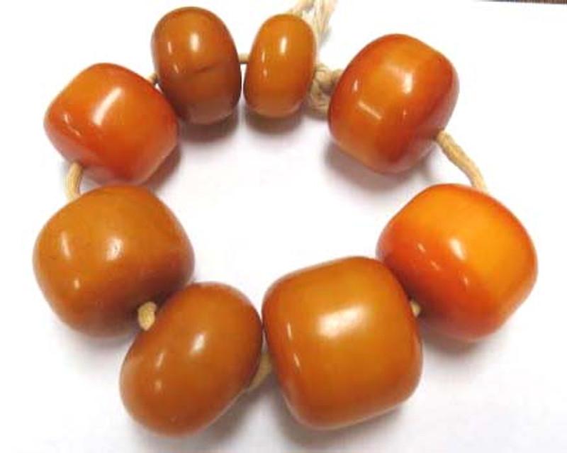 African Amber Resin Copal Beads Rondelle 10pcs Abacus 18x12mm Kenya