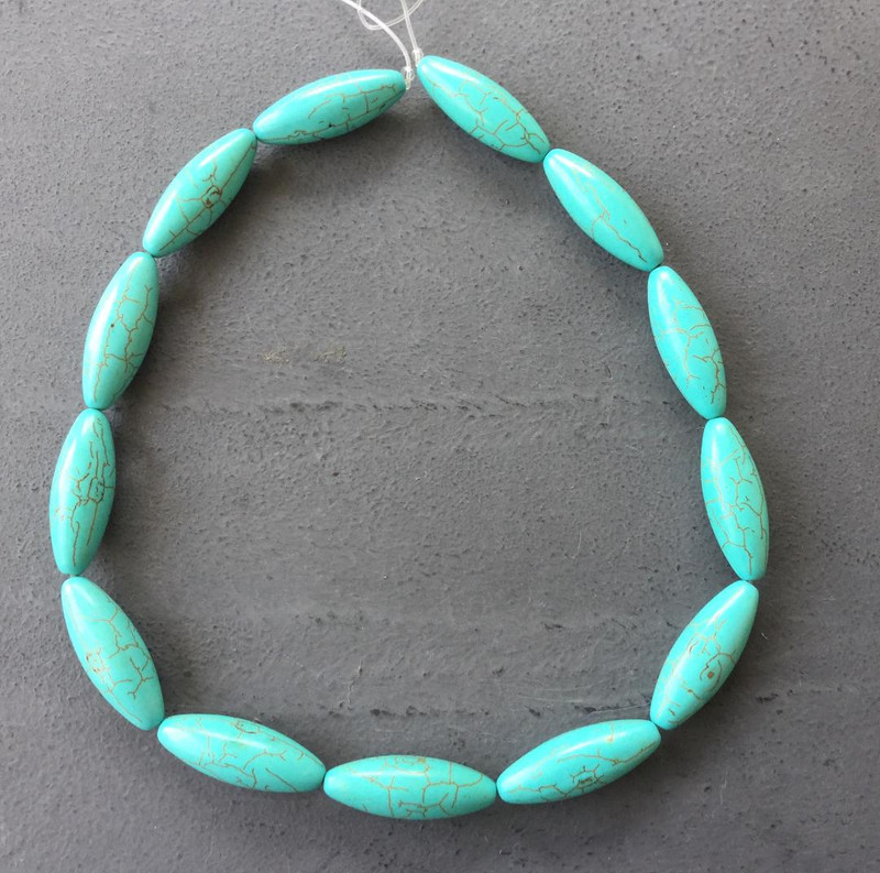 16x10mm Turquoise Bone Shaped Gemstone Beads
