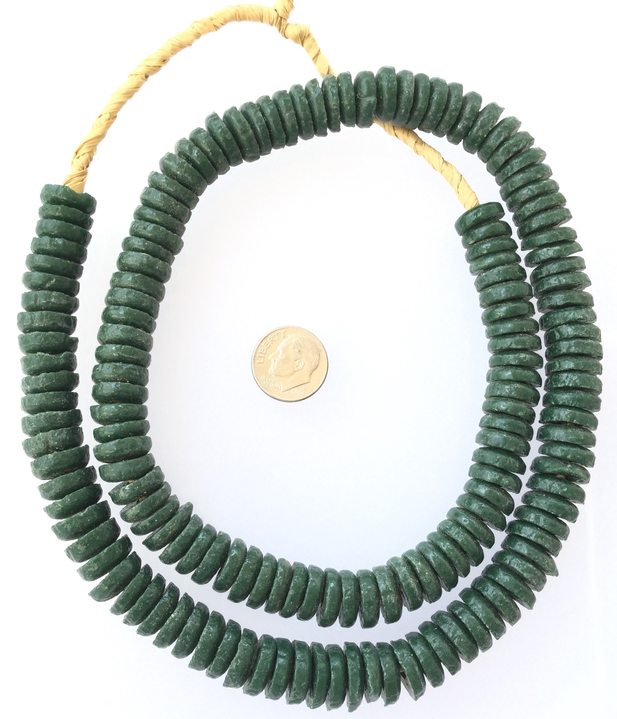Big Large Hole Beads SALE African Recycled Glass Krobo Beads 12mm Green