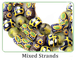 mixed Krobo bead strands