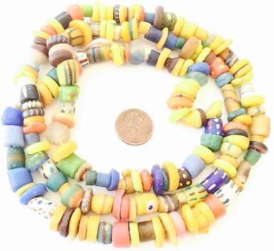 New African trade beads Ghana Krobo recycled powder glass beads translucent mix