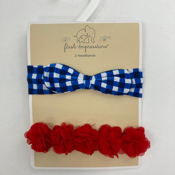 Plaid and Flower Headbands 2-pk