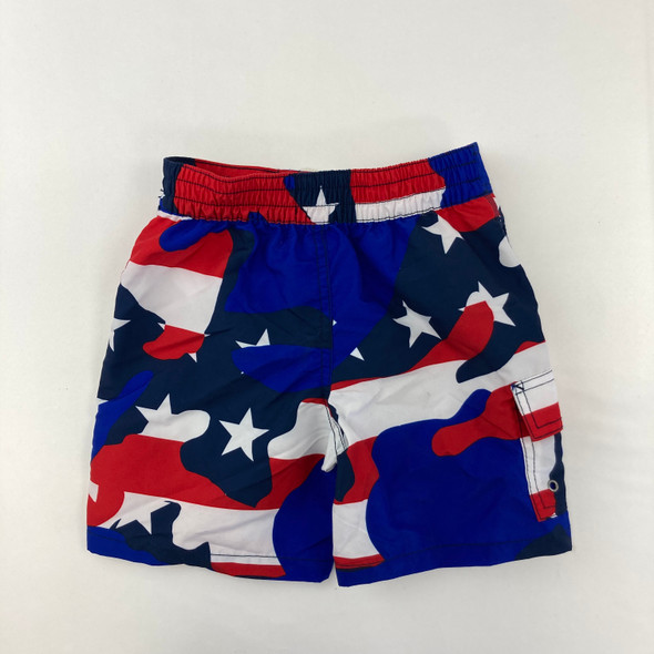 Red White and Blue Camo Swim Shorts 4T