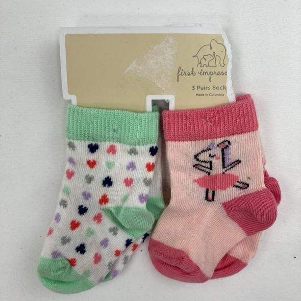 2-Pair Patterned Socks 0-6 mth