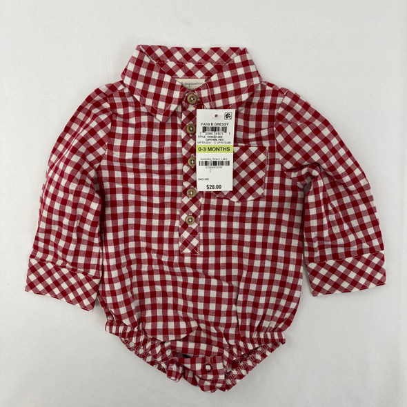 Red Plaid Top 0-3 mth