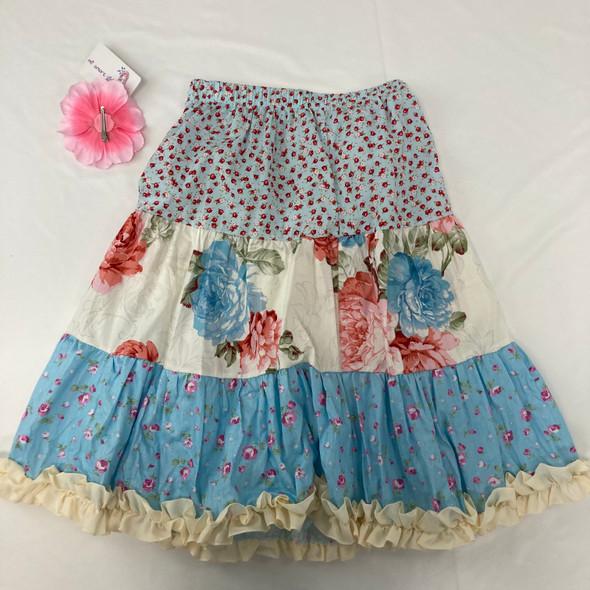 Light Floral Ruffle Skirt 8-10 yr