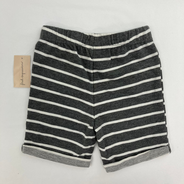 Heather Gray Striped Shorts 2T