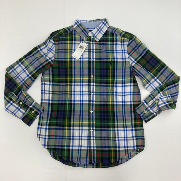 Plaid Button Up Top Large 14-16 yr