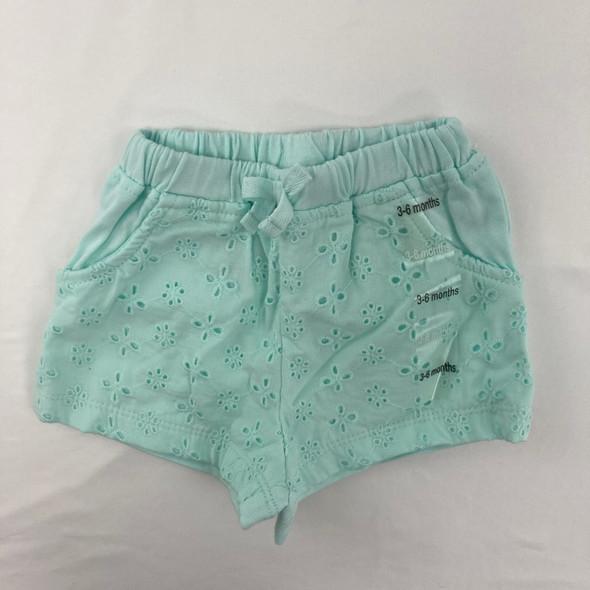Aqua Eyelet Shorts 3-6 mth