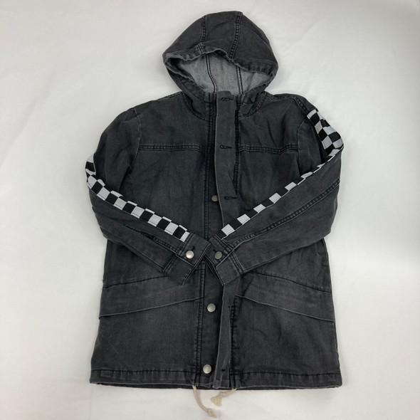 Checkered Dark Denim Jacket Large