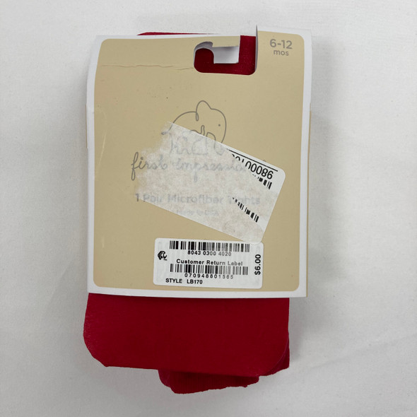 Red Microfiber Tights 6-12 mth