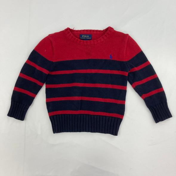 navy Striped Logo Sweater 3/3T